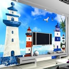 Papier peint Photo Mural personnalisé   Style méditerranéen, nuages bleu ciel blanc, pour phare salon arrière-plan de télévision, papier peint décoratif pour images, 3D