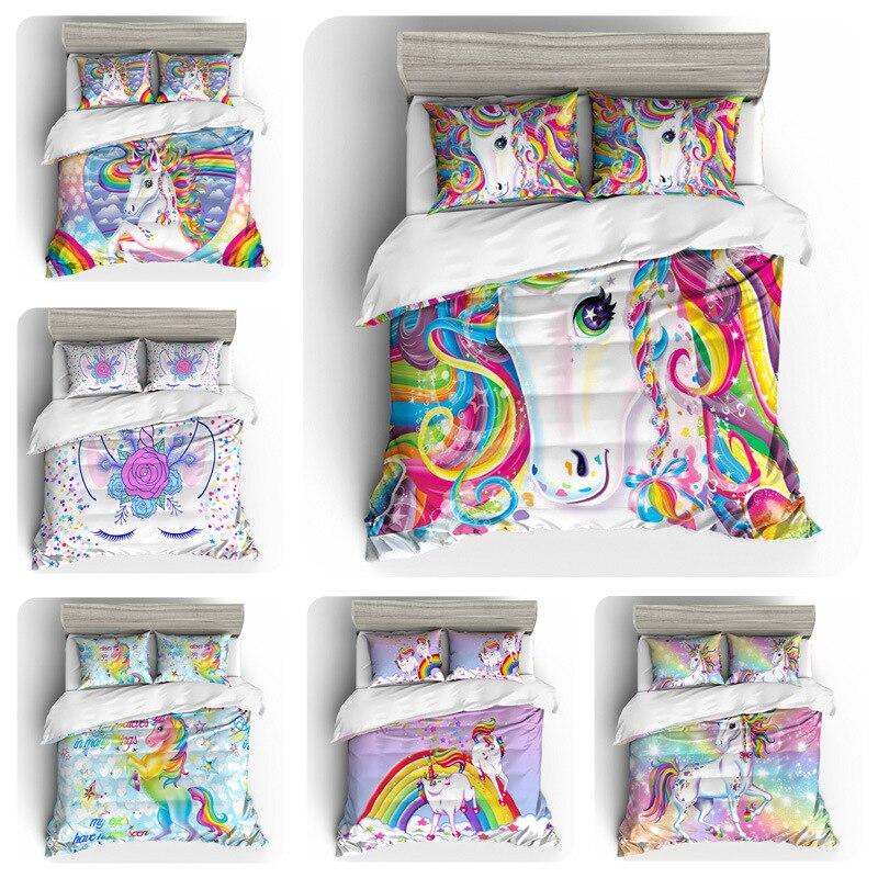 Juego de cama con estampado Digital de unicornio arcoíris, juego de cama con cobertura con diseño de edredón, ropa de cama Bohemian a Mini Van 4 Uds BE1230