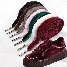 80 cm/120 cm Length 1 cm Width Double-side Velvet Surface Shoelaces Women Men Black Colorful Leather