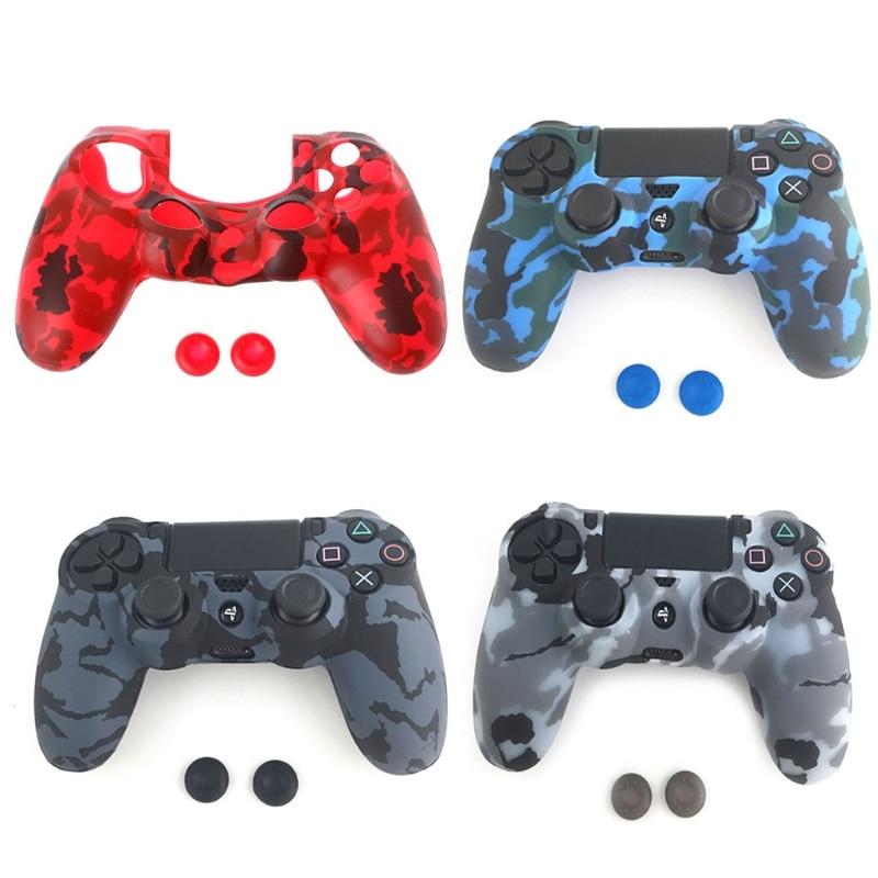 Защитный чехол из силикона камуфляжной расцветки с мягким рукавом, защитный чехол для Playstation 4 PS4 PS4 Pro, контроллер + 2 крышки