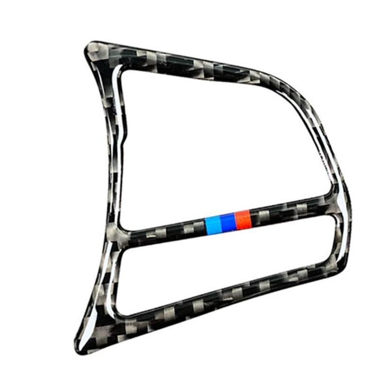 1 par 62*52mm fibra de carbono Botón de volante marco pegatina cubierta embellecedor para BMW F20 F21 F30 F32 62x52mm 2019