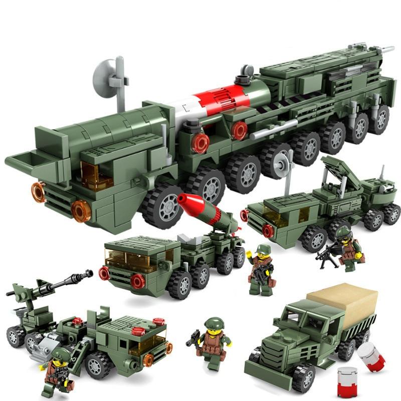 Militar 4 en 1 militar Guerra lanzamiento de misiles Vehículo de bloques de construcción Compatible Legoed ciudad ladrillo juguetes educativos para niños