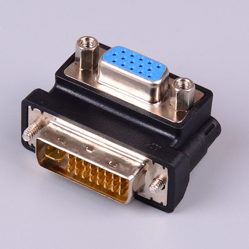Adaptador convertidor de 24 + 5 pines macho a VGA, 15 pines hembra, 90 grados, Adaptador DVI a VGA negro, 1 unidad