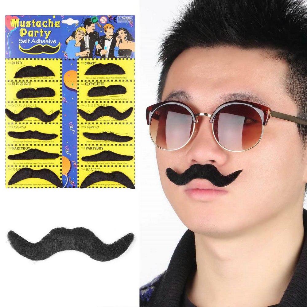 12 Uds divertido elegante traje fiesta bigote barba falso de fiesta Halloween divertido bigote falso bigote barba bigote