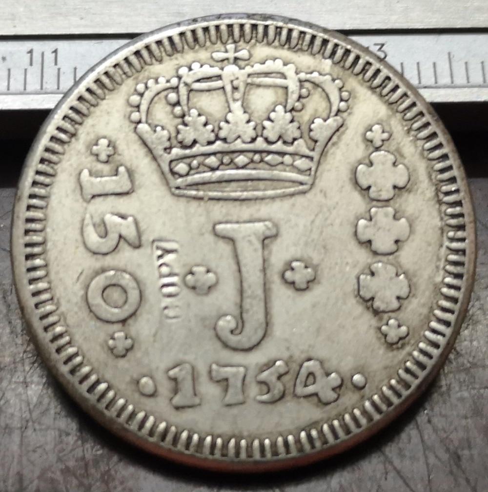 1754 Brasil 150 Reis chapados en plata copia de moneda