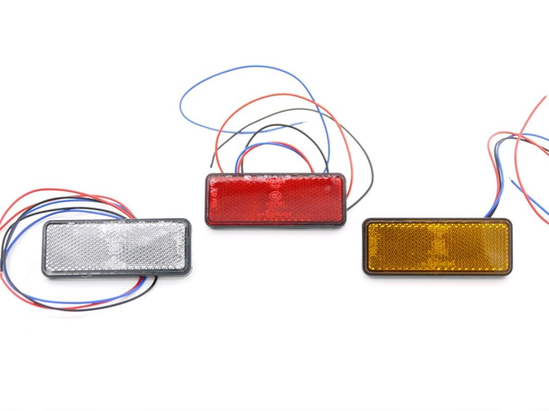 Eonstime 12V 2 uds 24 LED rojo claro lente motocicleta rectángulo luz trasera de frenos luz de freno camión remolque RV ATV luz trasera de parada