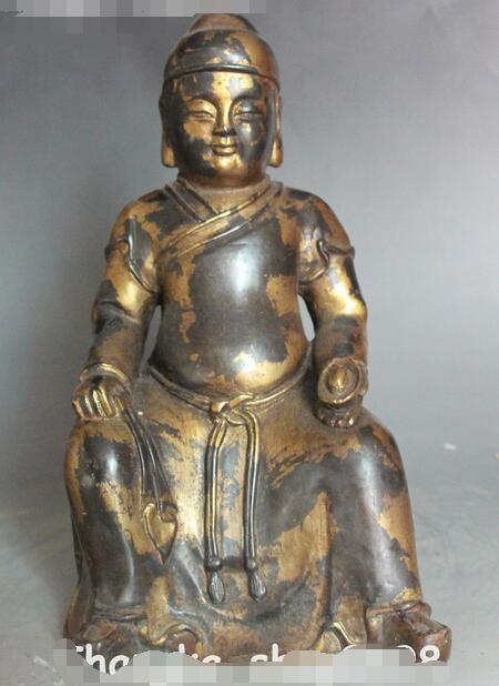 "9 ""Old Ancient Chino de Bronce Dorado Riqueza Dios Mammon Personas Hold Yuanbao Estatua"