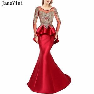 JaneVini Elegant Red Prom Dress Scoop Neck Gold Appliques Beaded Backless Satin Dresses Long Sleeves Mermaid Women Formal Gowns