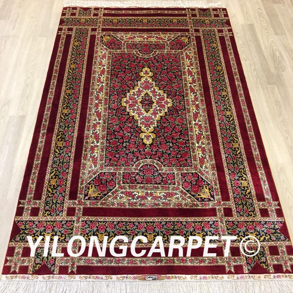 Yilong 4x6 buena seda pura oriental hecha a mano alfombra china de seda hecha a mano (ZQG320A)