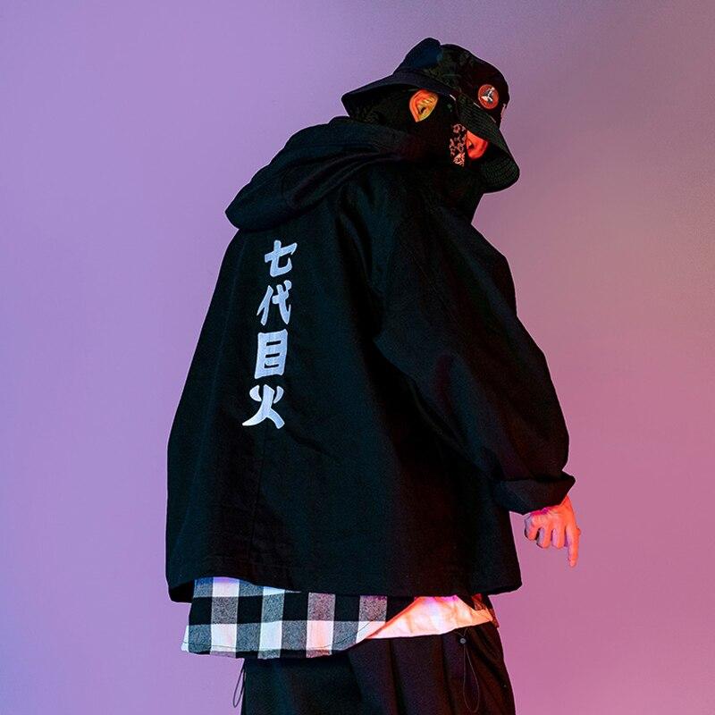Seven Generation of Eye bordado chaqueta 2019 otoño negro con capucha abrigo US Size S-XL
