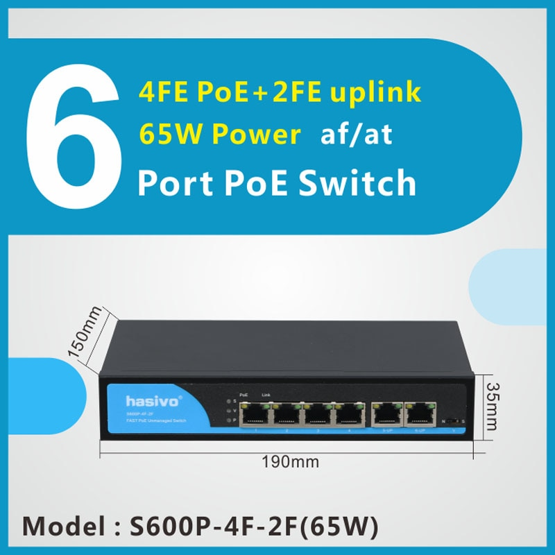48V 4 Ports POE switch Ethernet with standardized port IEEE 802.3 af/at Suitable for IP camera/Wireless AP/CCTV camera system 10port poe ethernet switch 48v vlan 10 100mbps ieee 802 3 af at network switch for cctv ip camera wireless ap 250m drop shipping