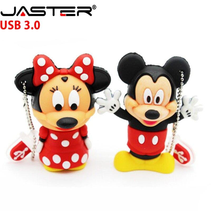 USB флеш-накопитель JASTER 3,0 с Микки и Минни Маус, флеш-накопитель с изображением животных, флеш-накопитель 4 ГБ/8 ГБ/16 ГБ/32 ГБ/64 ГБ