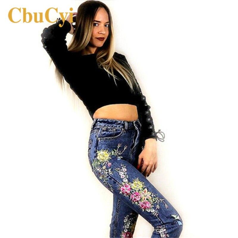 CbuCyi-بنطلون جينز نسائي ، ملابس نسائية ، بنطلون جينز أزرق طويل مستقيم مطرز بالزهور ، خصر مرتفع
