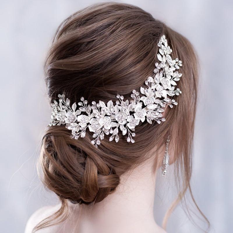 Flower Headband Wedding Hair Accessories Rhinestone Flower Bridal Tiara Headband Hair Comb Hairpins Wedding Hair Jewelry