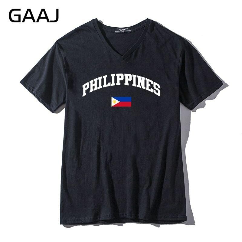GAAJ Filipinas Bandeira Men & Women Unisex T Shirt Masculino V Pescoço Das Mulheres de Algodão de Manga Curta T Engraçado Alta Qualidade # A7HVT