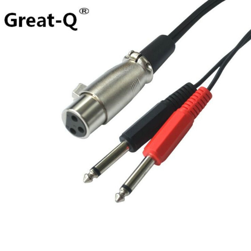 "Gran-Q XLR de 3 pines hembra a Dual 6,35mm 1/4 ""Mono macho TRS de Audio Y Cable/Cable de 150cm"