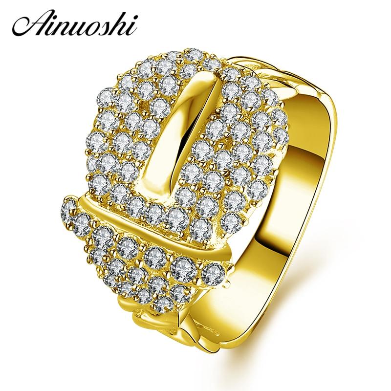 AINUOSHI 14 K oro amarillo sólido anillo de racimo de diamante simulado amplia trenzado tejido hebilla banda de boda anillo de la joyería