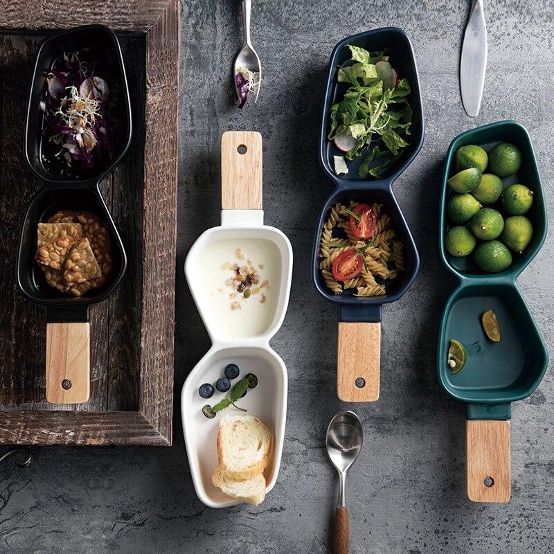Скандинавская посуда, керамическая многофруктовая чаша, для отеля, для ароматизаторов, снэков, семян дыни, орехов, чипсов, с ручкой из натура...