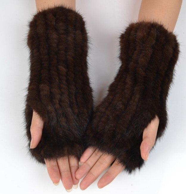 Guantes de piel de visón de punto natural para mujer de 25 cm, manoplas elásticas de visón, manoplas para muñeca, Manoplas sin dedos Piel de visón natural para mujer