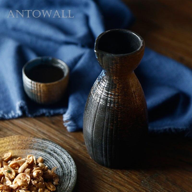 ANTOWALL Japanse stijl keramische sake fles cup kleine sake pot witte wijn pot huishoudelijke wijn fles wijn cup hip kolf