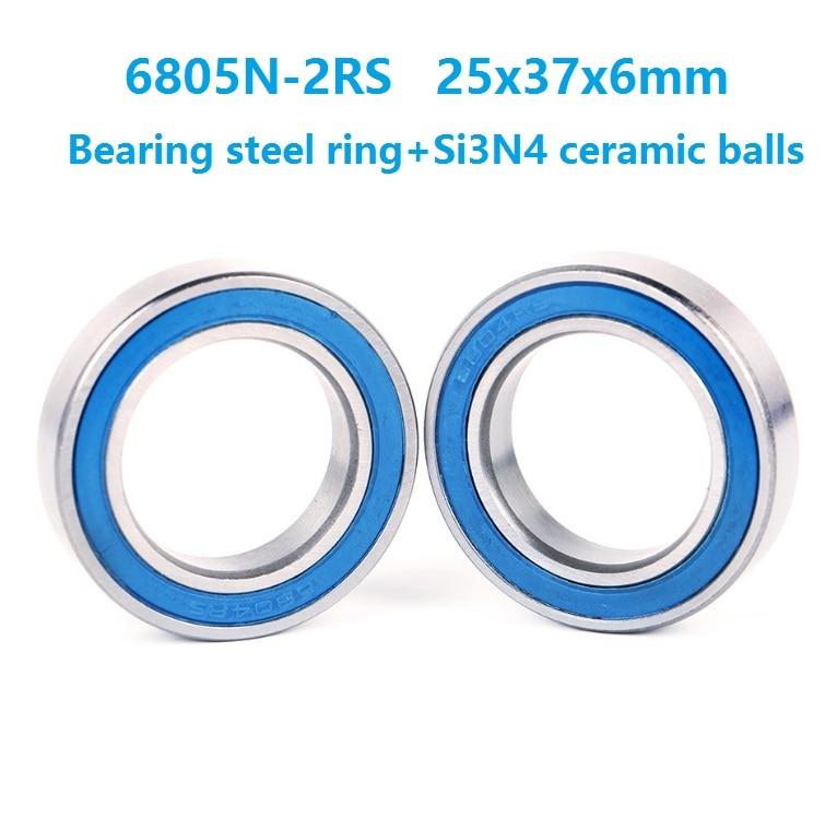 10 unids/lote 6805N-2RS 6805N 6805N-RD 6805 2RS RS 25x37x6mm bolas de acero híbrido de cerámica beating bicicleta BB51 cubo inferior