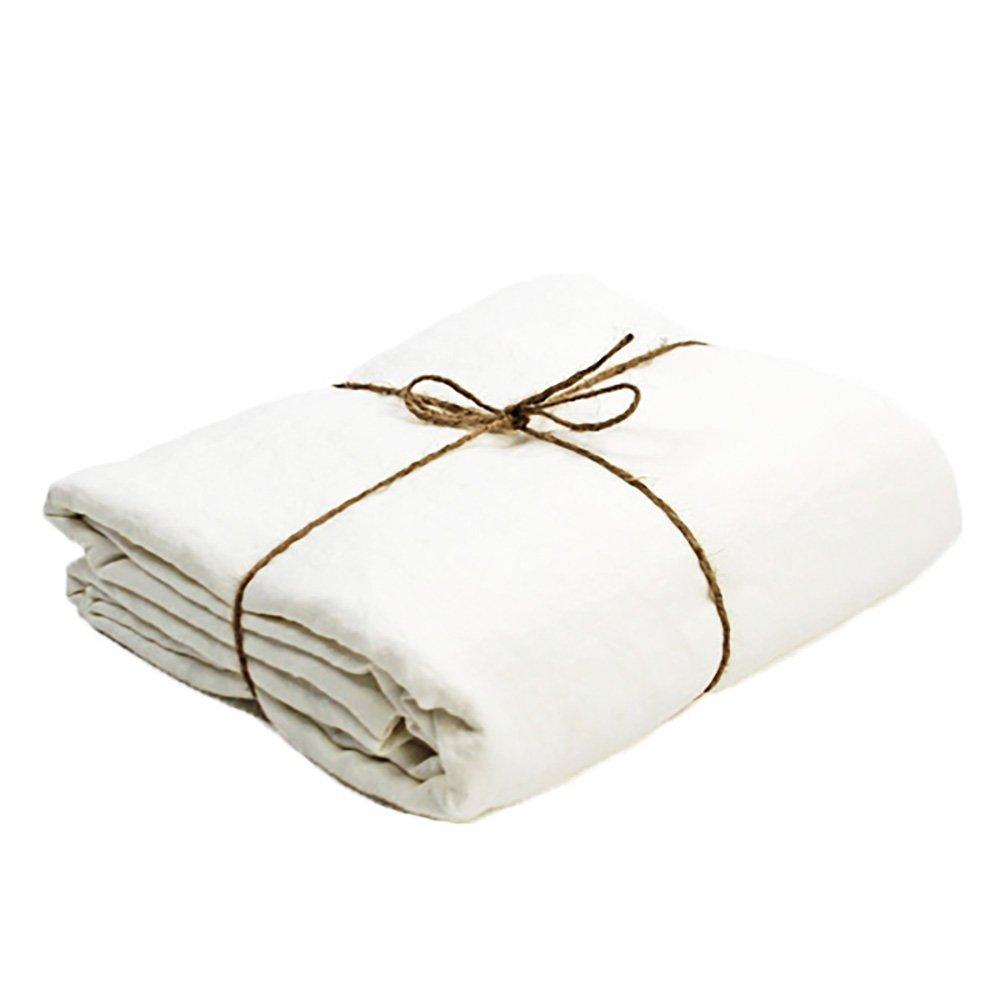 ملاءة سرير من الكتان المغسول ، للأطفال ، مقاس كينج ، أبيض ، فرنسي ، 260 × 274 سم
