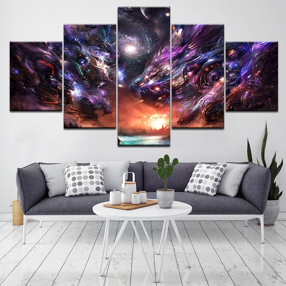 Pintura moderna lienzo impresión grupo línea abstracta patrón arte pared imagen 5 panel sala de estar decoración del hogar marco Modular arte