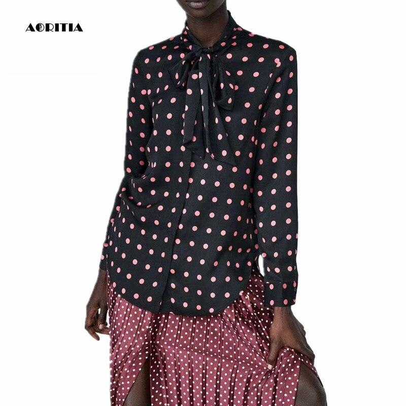 Blusa de manga larga con cuello de lazo con estampado de puntos para mujer 2019