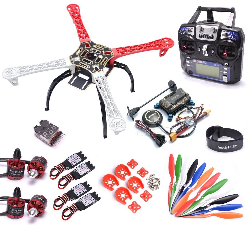 Комплект Рам квадрокоптера Flysky i6 F450 450 мм с контроллером APM2.8, плата M8N gps 30A Simonk ESC 2212, мотор 920kv, пропеллер 1045
