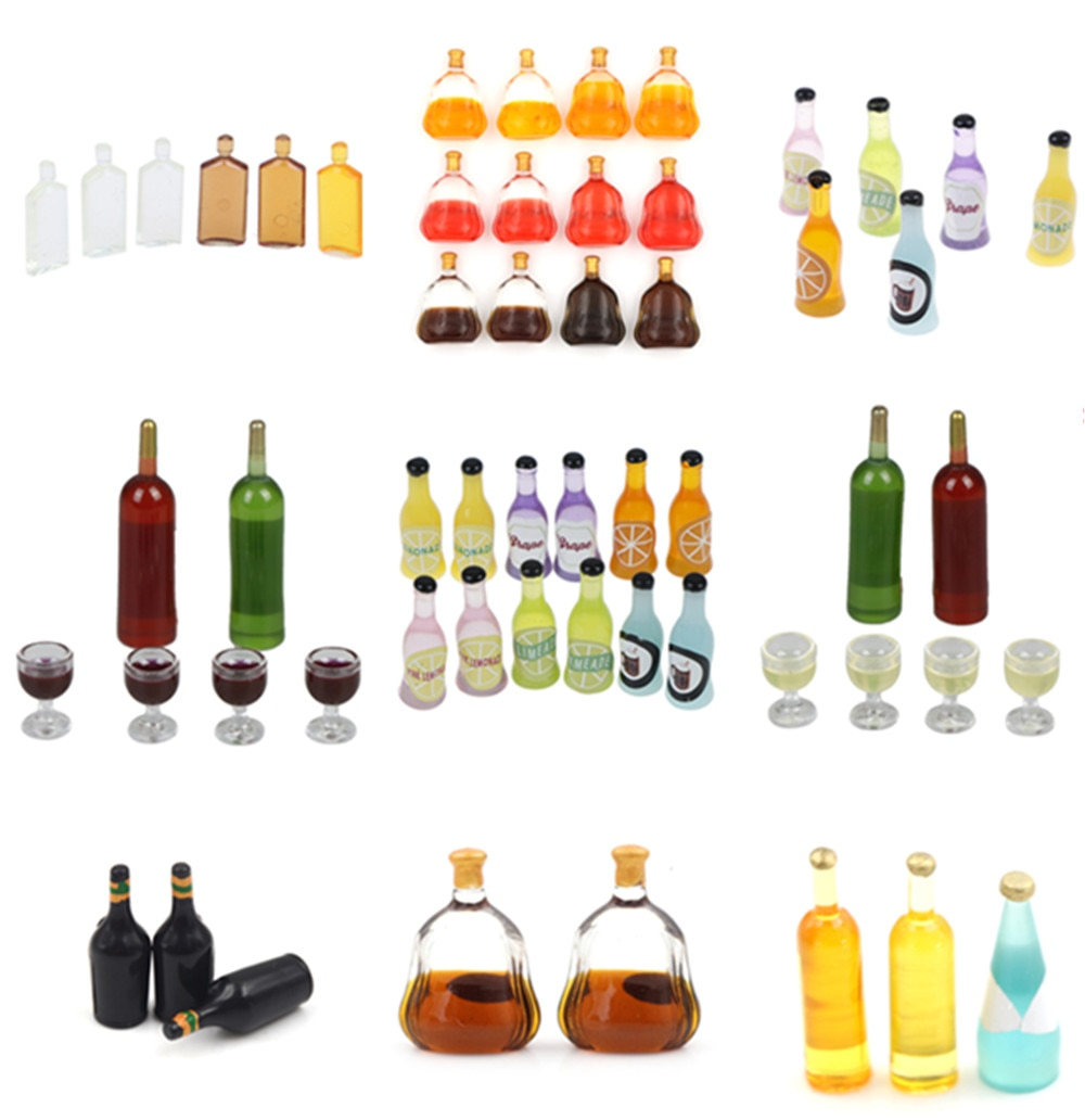 1/2/3/6/15Pcs/set 1/12 Dollhouse Miniature Accessories Mini Wine Bottle Simulation Drinks Model Toys for Doll House Decoration