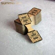200 pcs/lot pli Vintage en gros à la main Kraft papier étiquette carte collier bijoux affichage cartes emballage personnalisé carte 9cm * 3.5cm