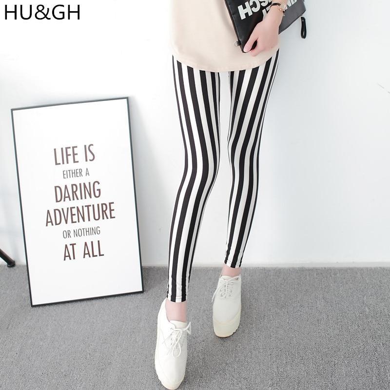 Женские леггинсы с вертикальными полосками, черные и белые модные эластичные леггинсы до щиколотки на каждый день