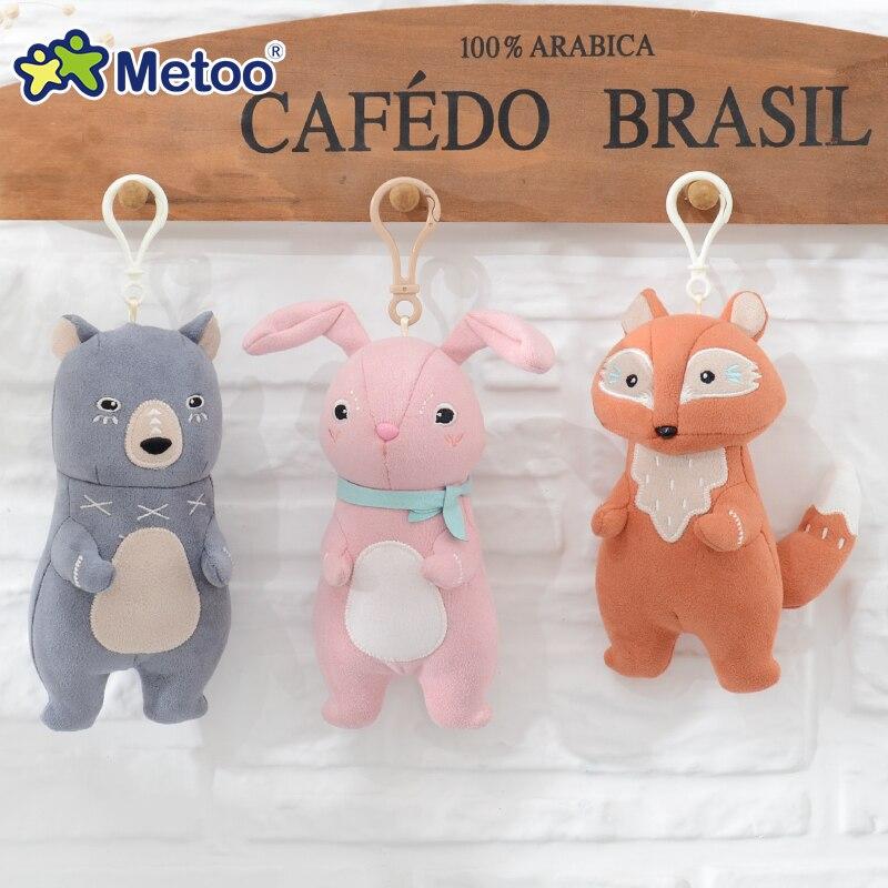 Kawaii pelo bonito de dibujos animados de peluche muñeco colgante mochila con colgantes bebé juguetes de los niños Regalo de Cumpleaños conejo oso zorro Metoo muñeca