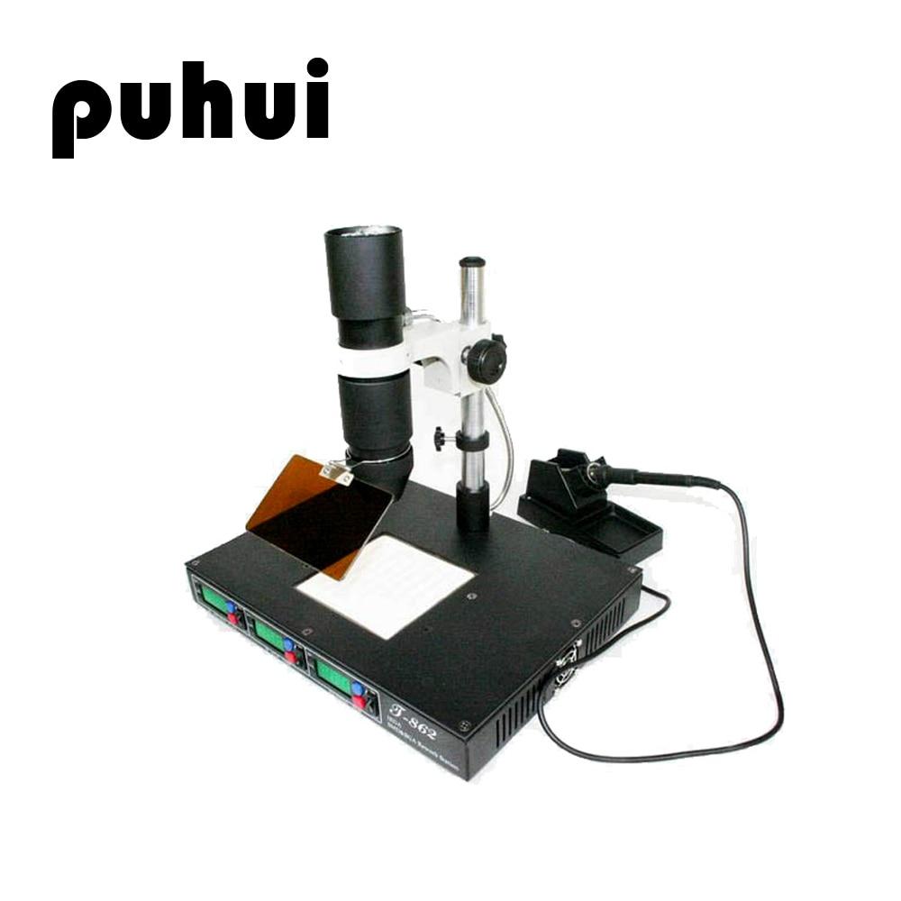 PUHUI T-862 SMD Infrared Soldering Rework Station Soldering Welder Mobile Phone Motherboard Desoldering Station Maintenance