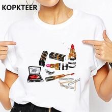 Camiseta Mujer Harajuku T Shirt Women 2019 Clothes Makeup Lipstick Graphic Tees Korean Ulzzang Tops Tee Shirt Femme Streetwear
