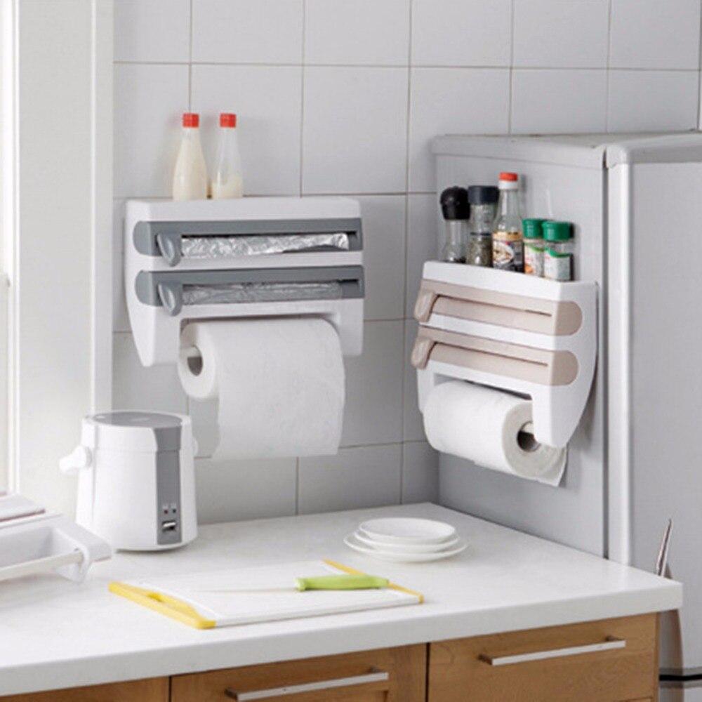 Papel de aluminio de cocina ABS Film Wrap tisú papel cocina rollo titular dispensador estante de almacenamiento estante para la organización del dormitorio de la cocina