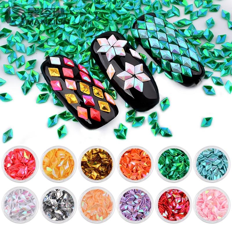 Holo MANZILIN 12 Pcs Sereia Diamante Unicórnio Flocos Glitter Prego Paillette Lantejoulas Acessórios Manicure Nail Art Decoração Set