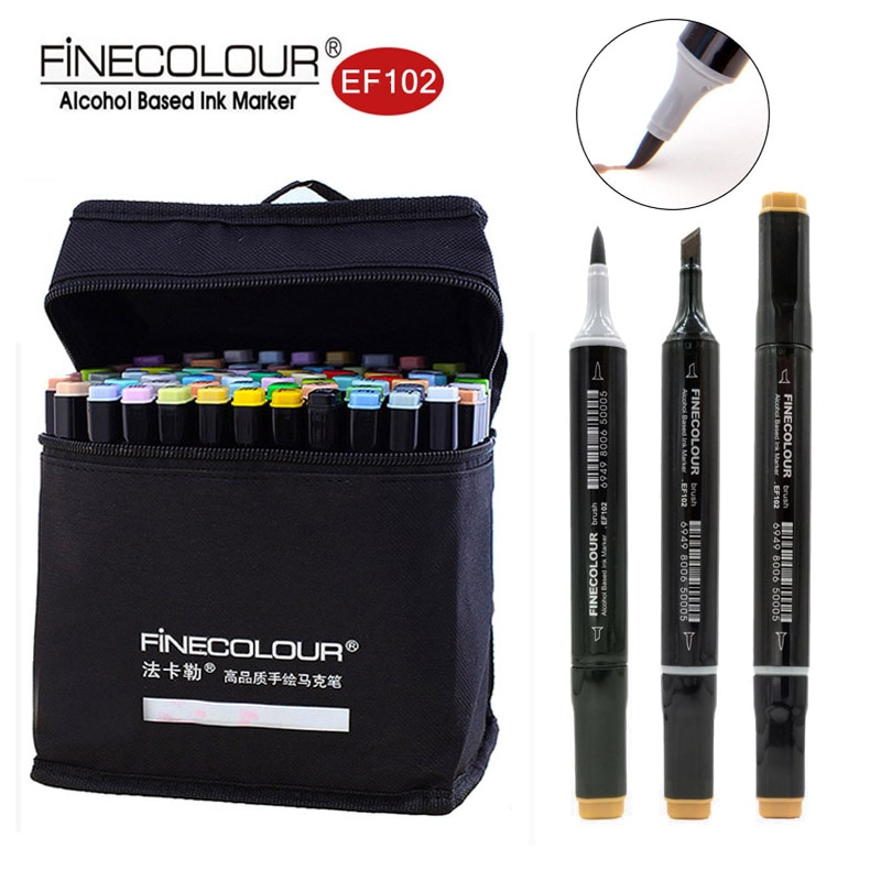 Finecolour a base de Alcohol cepillo marcadores EF102 suave Ultra bien plumas 12/24/36/60/72 colores estudiante de doble cabeza rotulador para bocetos
