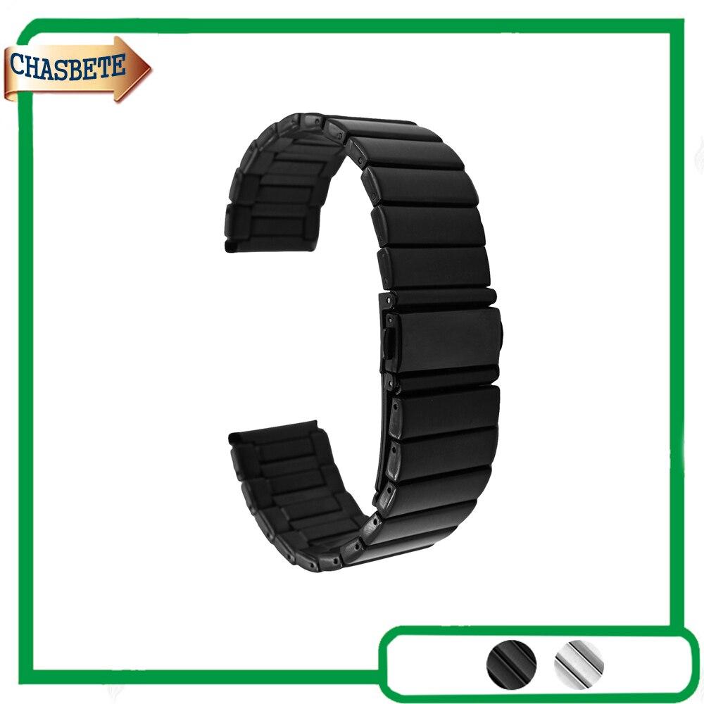 Acero inoxidable banda de reloj para Breitling 22mm 24mm metal Correa Loop muñeca pulsera negro plata + barra de resorte