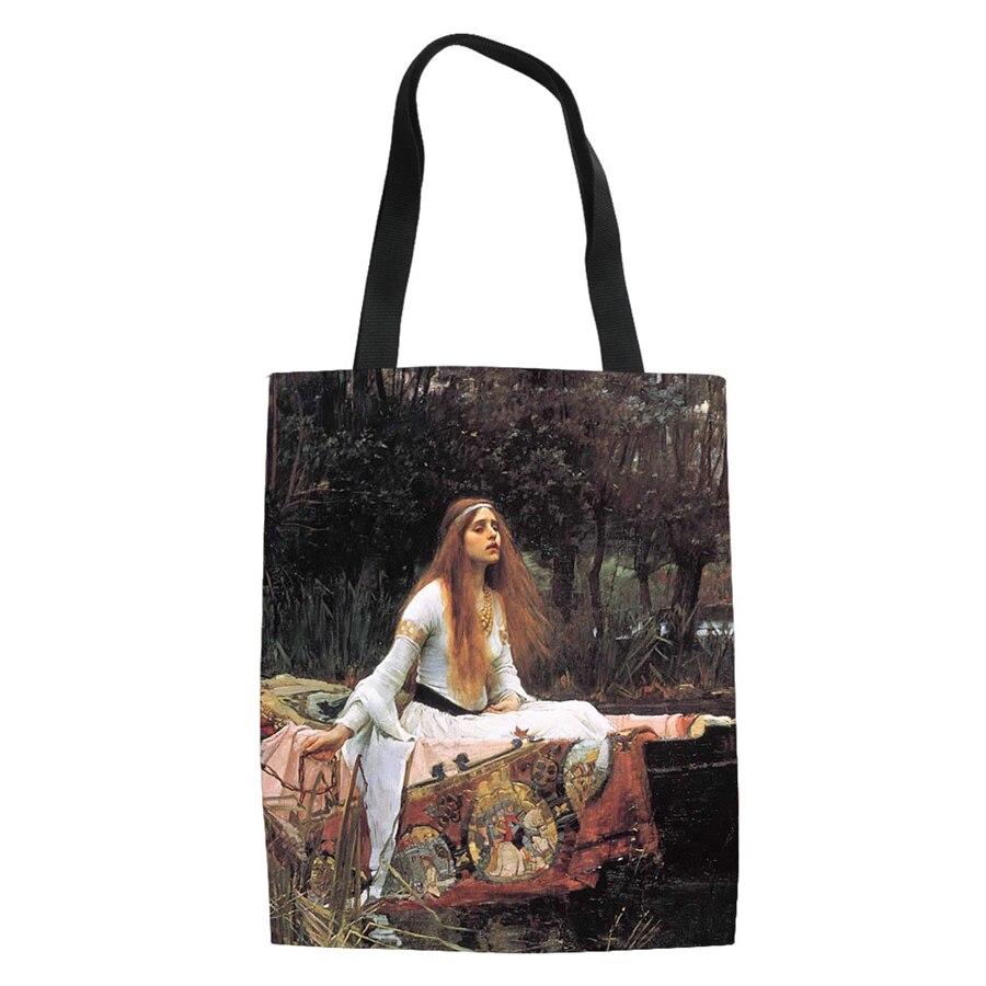 Famosa Van Painting Women, bolsos de lona para las compras, bolso ecológico informal, bolso ecológico versátil para hombro, bolso de bricolaje para verano y playa