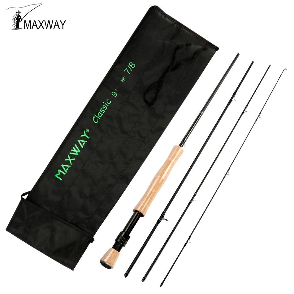 Caña de pescar Maxway Starter con mosca 2,1 M 2,7 M 30T, caña de pescar de fibra de carbono para trucha, salmón, pez con cabeza de acero, 4 secciones 3/4 5/6 7/8WT