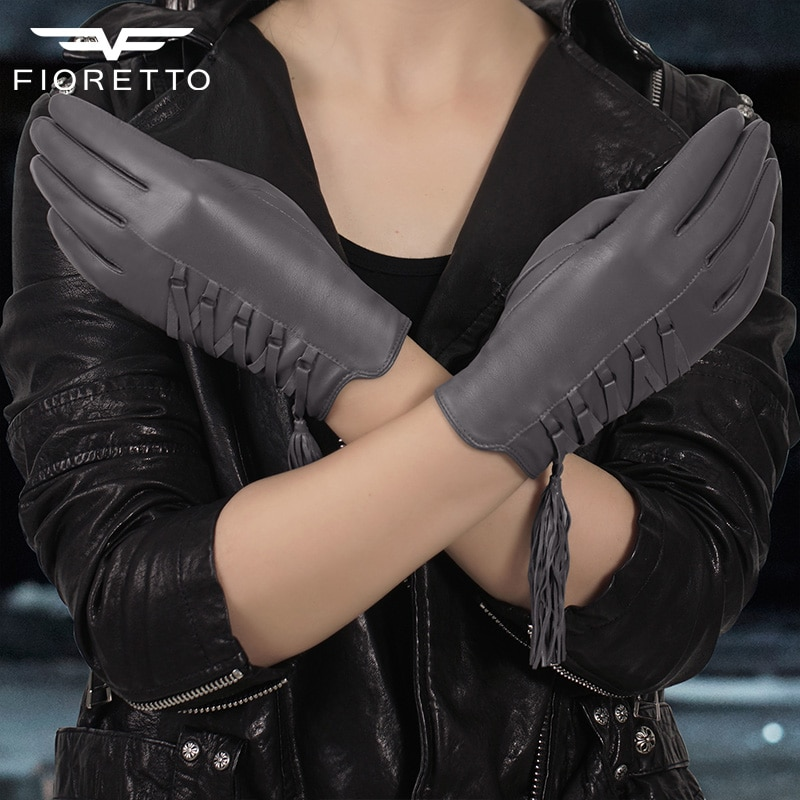 FIORETTO Women Winter Leather Gloves Knitted Wool Fleece Lined Leather Driving Gloves Ladies Tassel Touch Screen Leather Mittens gsg women winter leather gloves mittens knitted lined driving gloves handmade warm ladies fashion touch screen gloves black