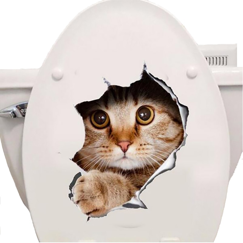 кошек 3D наклейки на стену Туалет Наклейки отверстие просмотра яркие наклейки Ванная комната декор для дома животного виниловые наклейка на холодильник искусству Стикеры плакат обои