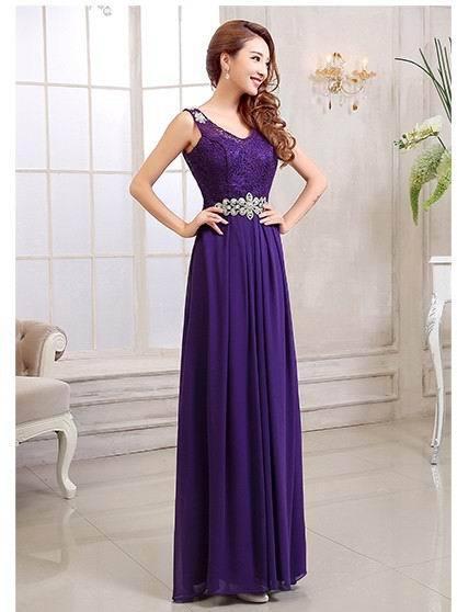 2015 chegada nova hombro correias con cuello en V de una línea de rendas e Chiffon vestidos de dama de honor roxo longa de talla grande vestidos de baile