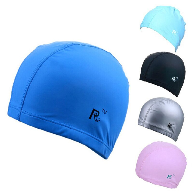 Gran oferta 2019 gorra de natación PU gorro piscina hombres mujeres impermeable Protector de oído natación buceo gorro cómodo Entrenamiento de natación sombrero