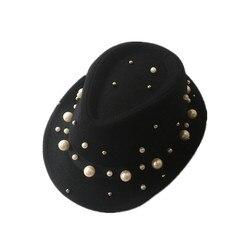 La mujer invierno panamá sombrero fedora preto vintage jazz sombreros para senhoras elegante decorado com perlas pamelas