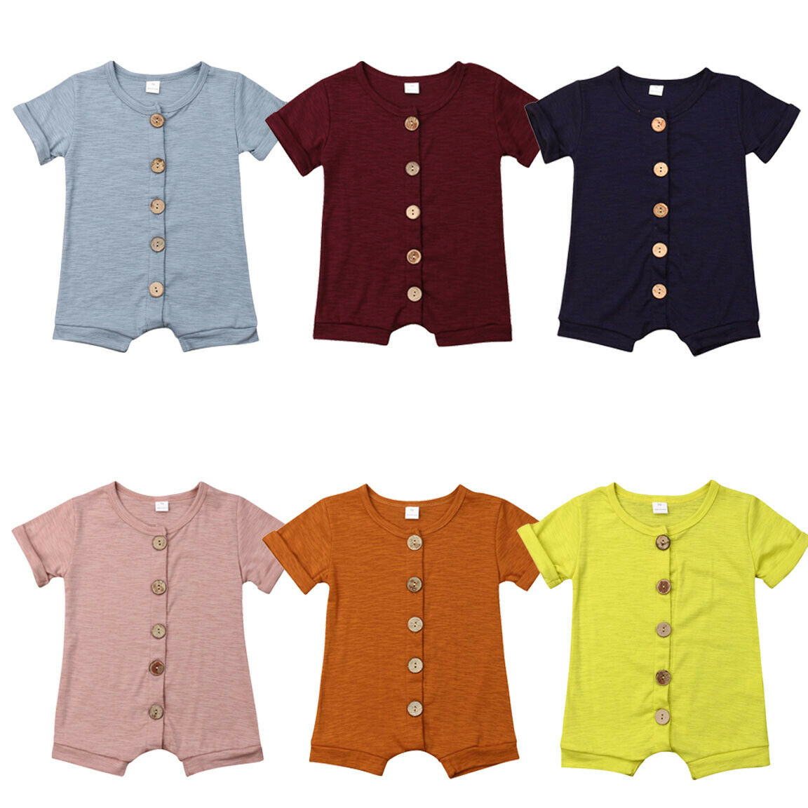 Infant Neugeborenen Baby Baumwolle Tasten Strampler Kurzarm Snaps One-stück Overall Overall Sommer Sunsuit Outfit Klassische Kleidung