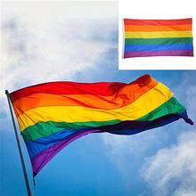 90X60 Cm Rainbow Rainbow Flag Colorful Rainbow Peace Flags Lesbian Gay Parade Flags Banner LGBT Pride LGBT Flag Home Decoration