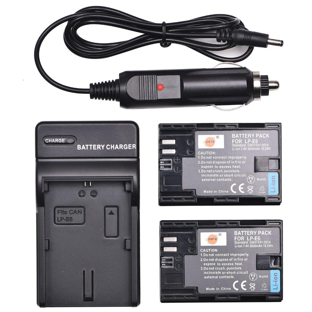 DSTE 2PCS 2600 mAh LP-E6 Kamera Akku Mit Ladegerät für Canon EOS 5DS R 5D Mark II 5D mark III 6D 7D 80D 90D 5DS