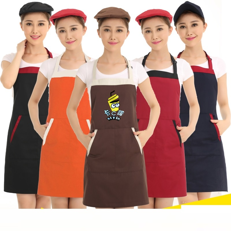 (10 шт.) работа официанта одежда Фартуки на заказ логотип повара ресторан кофе магазин шеи висящий фартук реклама фартук надписи